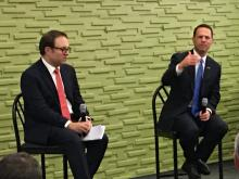 PA Attorney General Josh Shapiro and Seth Frotman speak at a town hall on student debt held at the Community College of Philadelphia on Oct. 7. Photo: Nigel Thompson/AL DÍA News.