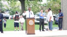 City Council President Darrell Clarke addresses the crowd at Fairhill Square Park on Aug. 5 for Philadelphia's National Night Out kick off event. Photo: Nigel Thompson/AL DÍA News