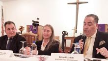 NJ NAACP head Richard Smith (with mic), Dr. Cheryl Kennedy with Doctors for Cannabis Regulation (center) and (left) Gloucester County DA Charles Fiore at forum on marijuana legalization.LBWPhoto