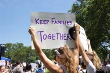 A protester at the End Family Detention rally in Philadelphia on June 30. Photo: Emily Neil / AL DÍA News