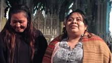 Asylum seeker Carmella Apolonio Hernández (right) with supporter Alma Lopez (left). Photo LBW