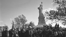 President Lyndon Johnson delivered remarks at the Statue of Liberty before signing into law the Immigration and Nationality Act of 1965. Inspired by the civil rights movement, the law did away with racial quotas in the U.S. immigration system. (LBJ Library photo by Yoichi Okamoto.)