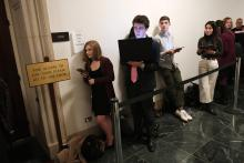 Congressional interns wait in line, December 2019. Photo Credit: Matt McClain/The Washington Post. Getty Image.