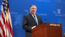 """US Secretary of State, Mike Pompeo, offers a press conference in Washington, United States, on May 21, 2018. Pompeo said that his government will not give """"carte blanche"""" to Iran in the Middle East and will impose """"the strongest sanctions in history"""" to force him to """"change his behavior"""". EFE / Michael Reynolds"""
