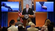 "WASHINGTON, DC - JUNE 13: U.S. Secretary of State Mike Pompeo speaks from the State Department briefing room on June 13, 2019 in Washington, DC. Pompeo said, ""It is the assessment of the U.S. government that Iran is responsible for today's attacks in the Gulf of Oman. (Photo by Win McNamee/Getty Images)"