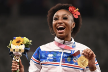 Jasmine Camacho-Quinn stayed true to her Puerto Rican roots by representing Puerto Rico at the 2020 Tokyo Olympics. Photo: Getty Images.