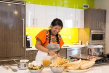 Jen Zavala during her magistral session on how to make good Mexican tamales.