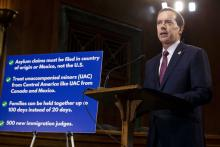 Customs and Border Protection acting Commissioner John Sanders speaks at a news conference proposing legislation to address the crisis at the southern border at the U.S. Capitol on May 15, 2019, in Washington, DC.Photo by: Anna Moneymaker/Getty Images