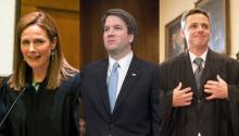Amy Coney Barrett, Brett M. Kavanaugh, and Raymond Kethledge are Trump's candidates to replace Judge Anthony M. Kennedy in the Supreme Court of the United States.
