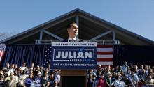 SAN ANTONIO, TX - JANUARY 12: Julian Castro, former U.S. Department of Housing and Urban Development (HUD) Secretary and San Antonio Mayor, announces his candidacy for president in 2020 at Plaza Guadalupe on January 12, 2019, in San Antonio, Texas. If successful, Castro would be the first Hispanic candidate to win the White House. (Photo by Edward A. Ornelas/Getty Images)