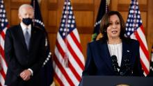 Vice President Kamala Harris at a press conference. Photo: Carlos Barria, Reuters.