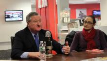 Philadelphia Mayor Jim Kenney visited AL DÍA News with members of his administration, among them, Miriam Enriquez, director of the Office of Immigrant Affairs. Yesid Vargas/AL DÍA News