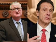 Philadelphia Mayor Jim Kenney (left) and New York Governor Andrew Cuomo (right) have both spoken out against the federal government's response to COVID-19. Photos: Fox29 and Angela Weiss/Getty Images.