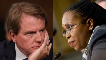Former White House counsel John McGahn (left), and District of Columbia Judge Ketanji Brown Jackson (right). Getty/NLJ