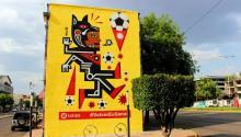 Mural realizado por el artista urbano Neuzz en México. Foto: EFE