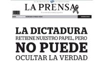 Cover of the first page of La Prensa on Thursday, in which it announces that it will stop circulating on the street due to the impossibility of being able to continue printing due to the lack of supplies. Pressure from Daniel Ortega's government. La Prensa.