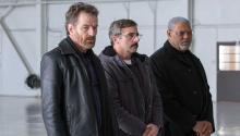 "De izquierda a derecha, Bryan Cranston, Steve Carell y Laurence Fishburne en ""Last Flag Flying,"" dirigida por Richard Linklater. Wilson Webb/Lionsgate"