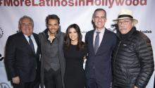 "(L-R) Jim Gianopulos, Eugenio Derbez, Eva Longoria, Eric Garcetti, and Edward James Olmos attend the launch of ""LA Collab"" with Mayor Garcetti at the Boyle Heights Arts Conservatory on January 13, 2020 in Los Angeles, California. Photo: Leon Bennett/Getty Images."
