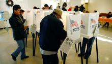 Photo: voters go to the polls on Super Tuesday 2008 in the predominantly Latino neighborhood of Boyle Heights. Gettty.