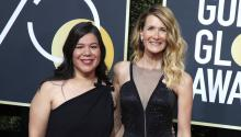 Mónica Ramírez (left) and Laura Dern (right) on the red carpet of the Golden Globes. Source: Twitter.