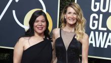 Mónica Ramírez (izq) y Laura Dern (der) en la alfombra roja de los Golden Globes. Fuente: Twitter.