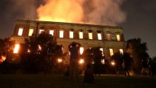 The 200-year old building caught fire last weekend. Photo: Richardo Moraes / Reuters