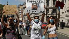 Protestas en Londres este fin de semana por la muerte de George Floyd. Photo: Getty Images.