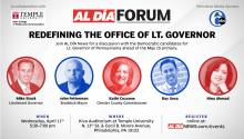 A forum with candidates for the state Lt. Governor position will be hosted by  on April 11 from 5:30 - 7 p.m at Kiva Auditorium at Temple University. Graphic by Samantha Laub.