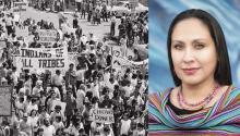 (Izq)La marcha de la Moratoria Chicana de 1970 en Los Ángeles. (Dcha) La activista chicanaLupe Cardona,presidentade la Asociación de Educadores de la Raza (capítulo de Los Ángeles). Photo: George Rodríguez / Lupe Cardona.