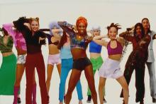 Video still from a1996 music video of Macarena, directed by Vincent Calet, featuring Los Del Río and TraceeEllis Ross