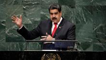 "The president of Venezuela, Nicolás Maduro, intervenes before the General Assembly of the United Nations (UN) on Wednesday, September 26, 2018, at the agency's headquarters in New York. Nicolás Maduro said that the humanitarian crisis in his country is being used as an excuse by the United States to justify an international military intervention following ""the same scheme of weapons of mass destruction in Iraq."" EFE/Peter Foley."