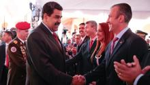 Nicolás Maduro salutes Tareck El Aissami, new vicepresident of Venezuela, in Caracas on Wednesday /EFE