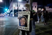 A woman during the protest over the death of MaKhia Bryant.