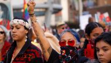 Native American activist Lydia Ponce (C) joins thousands of protesters at the third annual Women's March in Los Angeles, California, USA. On January 19, 2019. EFE/EPA/EUGENE GARCIA