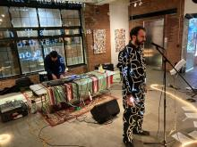 """Spanish poet Marcos de la Fuente during his performance """"The Empathy Muscle"""" at La Casa ArtHouse in the Clouds, this Saturday in New York. Photo by Nora Quintanilla."""