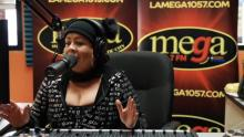 Host Maria Del Pilar live in the studio. Photo: La Mega