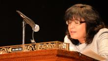 Maria Quinones-Sanchez at a city council meeting.