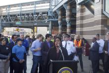 Councilwoman Maria Quiñones-Sanchez speaks at the Kensington Avenue clean-up on Nov. 1.