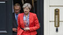 British Prime Minister Theresa May (R) and her husband Philip leave the Conservative headquarters in central London, England, Britain, 09 June 2017. EPA/FACUNDO ARRIZABALAGA