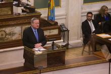 Mayor Jim Kenney at the School Reform Commission Conference last fall. Mayor Kenney will select nine of the 27 candidates proposed by the Education Nominating Panel to serve on the city's new Board of Education. Samantha Laub/AL DÍA News