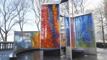El memorial es una espiral de vidrio que asciende evocando un huracán.Photo:Flickr - Gobernador Andrew Cuomo.