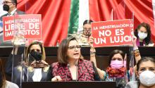 La diputada Martha Tagle defendió en el Congreso mexicanoel pasado miércoles 21 de octubre el derecho de las mujeres a una menstruación digna.Photo:@MarthaTagleMed