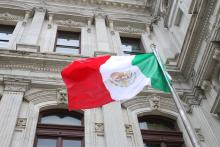 Mexican flag at the May 1, 2015 flag-raising ceremony at Philadelphia City Hall. Photo: Samantha Madera / AL DÍA News