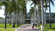 La Universidad de Miami otorgarábecas para estudiantes indocumentados acogidos alDACAy queno tienen posibilidad de acceder a ayuda financiera federal. Vista de la Otto G. Richter Library en el campus de la universidad de Miami. Foto: Wikimediabiblioteca