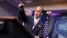 WASHINGTON, DC - AUGUST 02: Senior Advisor to the President for Policy Stephen Miller calls on reporters while talking about President Donald Trump's support for creating a 'merit-based immigration system' in the James Brady Press Briefing Room at the White House August 2, 2017 in Washington, DC. (Photo by Chip Somodevilla/Getty Images)