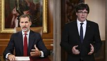 Spanish King Felipe VI (L) giving a speech two days after the celebration of the Catalonian illegal referendum, in Madrid, Spain, Oct. 3, 2017. 24 hours later, the President of Catalonia, Carles Puigdemont(R),answered him back. EPA-EFE/Spanish Royal Household/Francisco Gomez