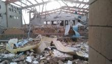 Image of the remains of the medical assistance center run by Doctors Without Borders in Abs, Yemen, which was destroyed by the US-backed coalition on Monday. Source: @msf_yemen