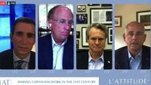"""Panel L'Attitude 2020 """"Making Capitalism Work in the 21st Century"""", with Larry Fink, CEO of Black Rock, Brian Moynihan, CEO of Bank of America, and Jose Minaya, CEO of Nuveen.Courtesy of L'Attitude 2020."""