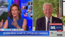 Screenshot of Democrat presidential candidate Joe Biden at the virtual L'Attitude conference in San Diego. He was interviewed by Stephanie Ruhle, a senior business reporter at MSNBC. (Screenshot from L'Attitude website)