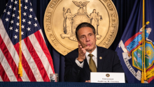 Gov. Cuomo during a press conference on Monday. Photo: Jeenah Moon/Getty Images